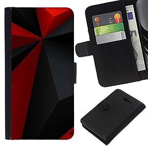Planetar® Modelo colorido cuero carpeta tirón caso cubierta piel Holster Funda protección Para Sony Xperia M2 ( Modelo rojo del Polígono Gris Negro Moderno )