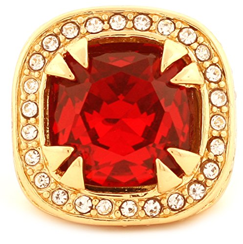 Gold Tone Synthetic Red CZ Stone Mens Rick Ross Hip Hop Style Ring (8) by GIFTS INFINITY (Image #1)