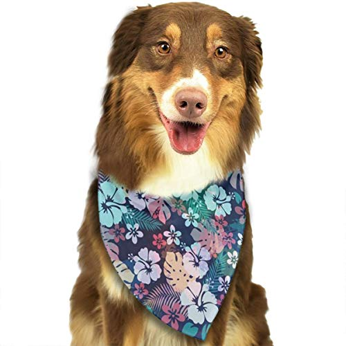 NOWDIDA Bandana-Washable and Adjustable Pet Triangle Scarf Bibs Charming Hawaii Flower Accessories for Small Medium Large Dogs/Cats ()