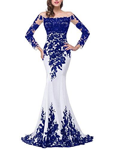 OYISHA Womens Lace Applique Evening Dress with Long Sleeves Long Mermaid Wedding Celebrity Gown EV122 White & Royal Blue 24Plus