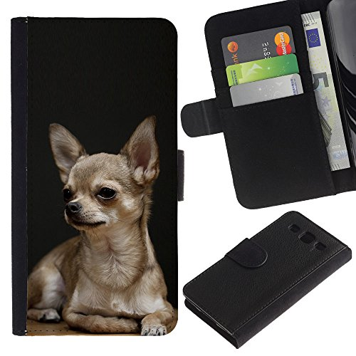 EuroCase - Samsung Galaxy S3 III I9300 - Chihuahua dog black pet golden puppy - Cuero PU Delgado caso cubierta Shell Armor Funda Case Cover