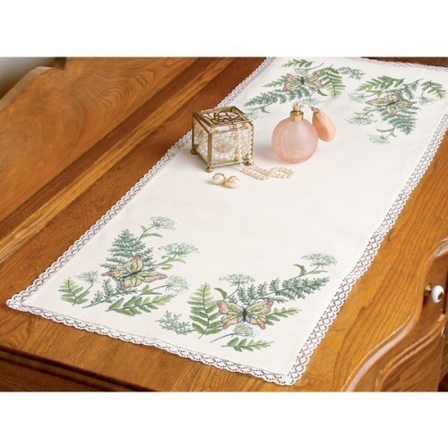 - Dimensions Butterflies And Fern Dresser Scarf Stamped Cross Stitch-14 Inch x37 Inch