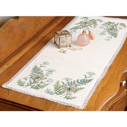 Butterflies Scarf Dresser (Dimensions Butterflies And Fern Dresser Scarf Stamped Cross Stitch-14 Inch x37 Inch)