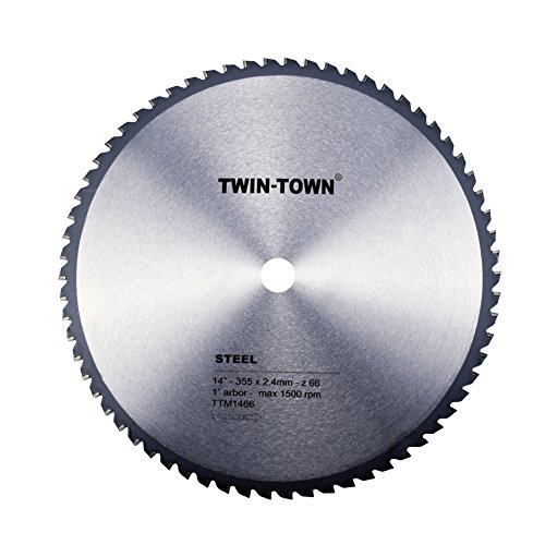 TWIN-TOWN 14-Inch 66 Tooth Steel and Ferrous Metal Saw Blade with 1-Inch (355mm Chop Saw)