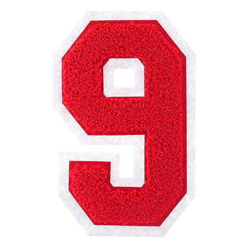 MJ-Trimming-Iron-On-Numbers-Varsity-Chenille-0-9-Patches-Iron-Adhesive-or-Sew-On-Appliques-Decorative-45-Red-Numbers-with-White-Border