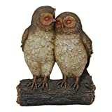 Exhart Solar Two Owls on Stump, Statuary, Decorative Animal Art Piece, Office/Front yard/Backyard / Inside/Outside For Sale
