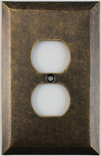 Jumbo Stamped Aged Antique Brass One Gang Duplex Outlet Wall Plate