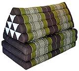 Thai triangle cushion/mattress XXL, with 3 folding seats, brown/green, sofa, relaxation, beach, pool, meditation, yoga, made in Thailand. (82018)