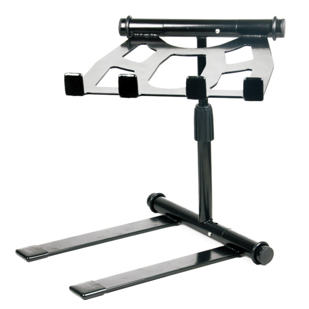 Pyle Portable Folding Laptop Stand - Standing Table with Adjustable Angle, Foldable Height and Four Prong Anti-Slip Tray for iPad, Tablet, DJ Mixer, Workstation, Gaming and Home Use - PLPTS55 by Pyle