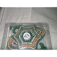 Rangoli art design set 7 pieces sparkling green diwali decor