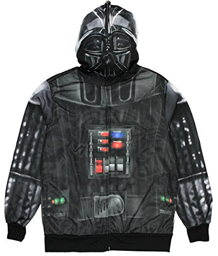 Star Wars Darth Vader Costume Graphic Zipperr Hoodie - Large (Darth Vader Costume For Sale)