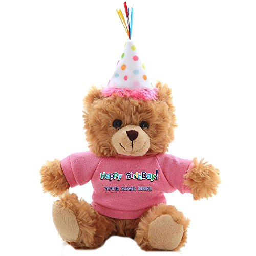 Plushland Plush Teddy Bear 6 Inches - Mocha Color for Birthday, Personalized Text, Name on T-Shirt, Party Favors Gift for Kids, Boys, Girls (Polka Dot Birthday Hat) ()