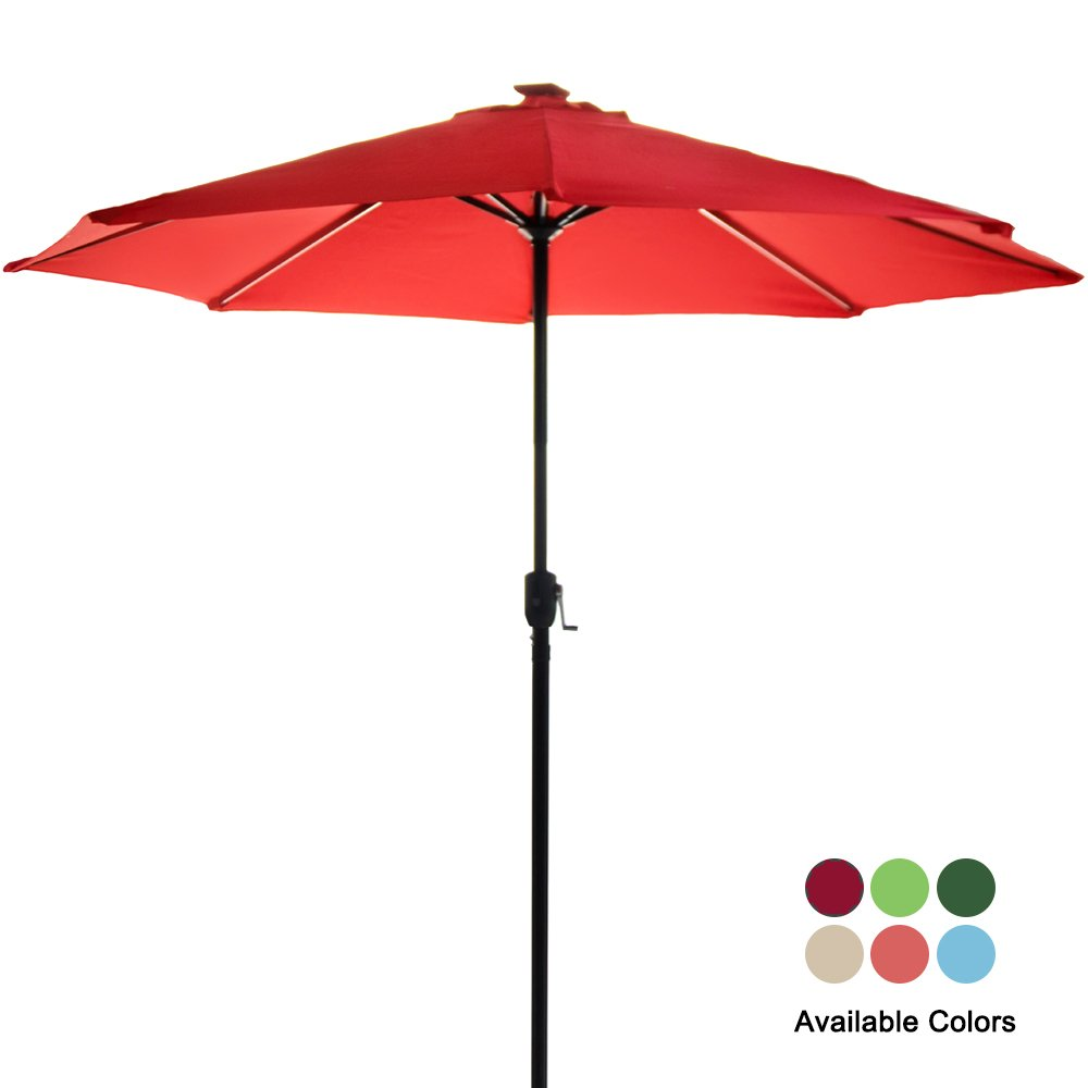 Garden Bean 9FT Deluxe Garden Umbrella with Solar LED Lights and USB Phone Charging Function Burgundy