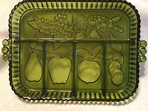 5 Part Relish Dish, Embossed Fruit Relish Dish, Green Serving Tray