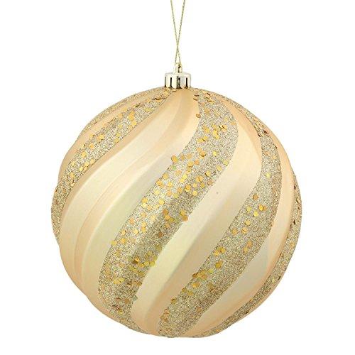 Swirl Gold Glitter - Vickerman Vegas Gold Glitter Swirl Shatterproof Christmas Ball Ornament 8