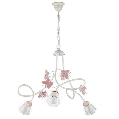 ONLI - Lámpara de techo con 3 luces de metal blanco con mariposas pintadas en rosa