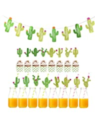 YOUTH UNION 16Pcs Cactus Cupcake Toppers Cupcake, 16Pcs Prickly Cactus Party Paper Straws and 1 Pack Cactus Banner for Luau Hawaii Birthday Summer Theme Party Festival Decoration