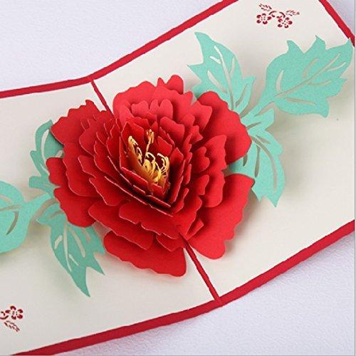 BC Worldwide Ltd Handgemachte Origami Papercraft 3D Pop Up Popup Pfingstrose  Blume Hochzeit Einladung Geburtstag