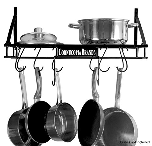Baker Rectangular Pot Rack - Wall-Mounted Pot Hanging Rack, 24 by 10 Inches, All-Black Decorative Kitchen Shelf w/ 10 S-Hooks