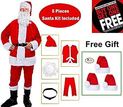 BiBOSS Christmas Santa Claus Costume Deluxe Santa Suit Outfits Christmas Onesie Set