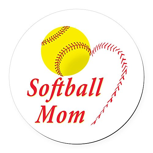 CafePress - Softball Mom - Round Car Magnet, Magnetic Bumper Sticker