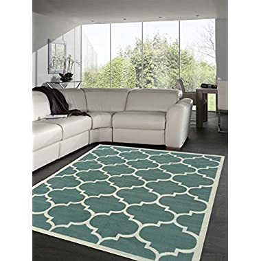 Sweet Home Stores Clifton Collection Sage Green Moroccan Trellis Design (7'10 X9'10 ) Area Rug…