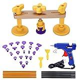 Gliston 38pcs Paintless Dent Repair Tools Kits ,Pop a Dent Bridge Puller Sets + Glue Sticks + Glue Gun + Glue Tabs Auto Body Dent Removal Tools