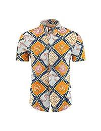 Casual Tops,Men's Loose Tee Turn-Down Collar Short Sleeve Print Button Down T-Shirt