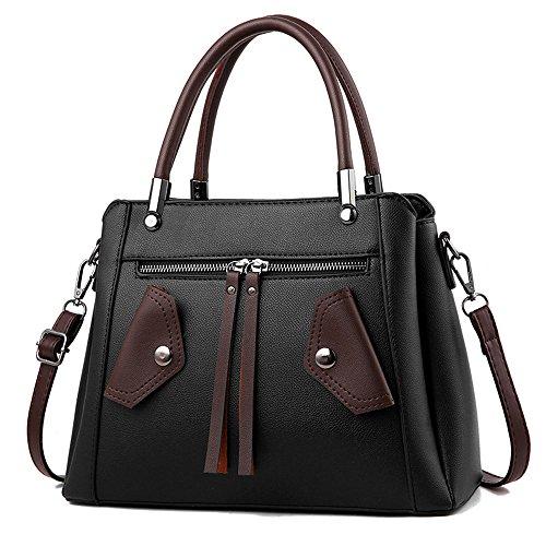 GWQGZ Los Nuevos Colores De Moda Bolsos De Moda Bolso Satchel Elegante Temperamento Gris Black