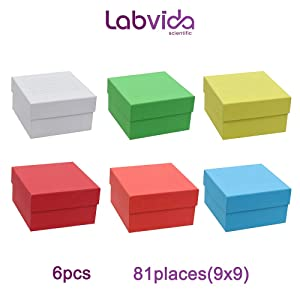 Labvida 6 Color Cardboard Freezing Storage Boxes, 81 Holes Dim.134x134x76mm for Cryotubes of 3 inches, White Blue Red Yellow Orange Green, LVK002