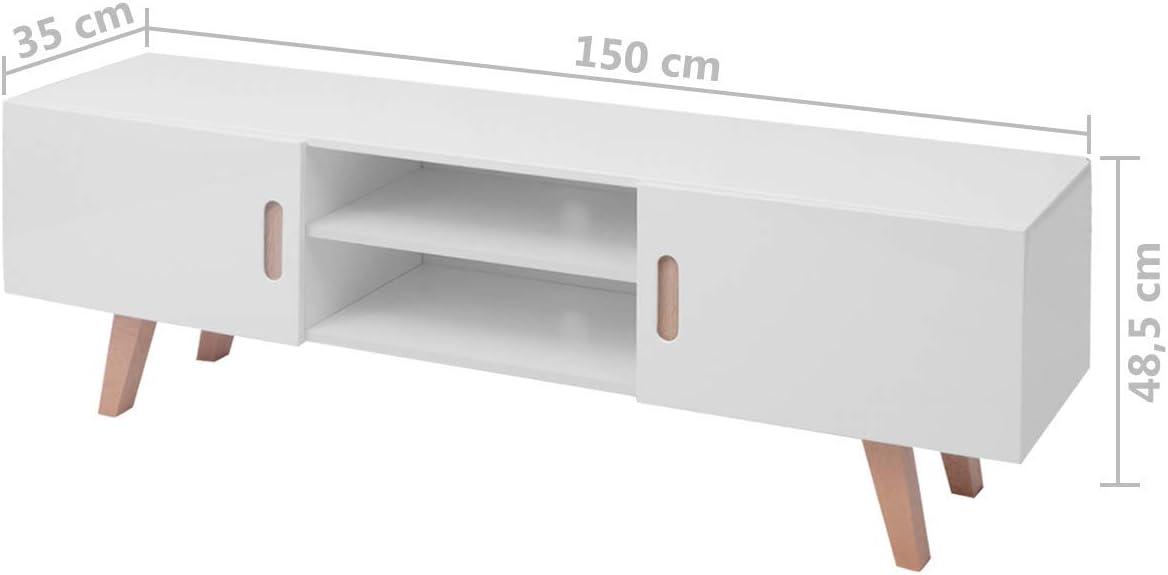 vidaXL Mueble Salón TV MDF Blanco Brillante 150x35x48,5 cm Mesa ...