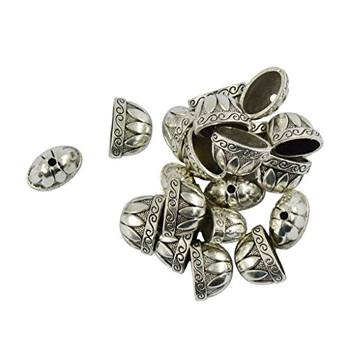 MonkeyJack Tibetan Silver Large Pewter Caps Flower Focal Beads Jewelry Making Findings 20 Pieces