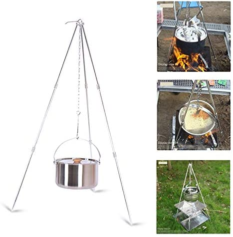 Campfire Cooking Tripod with Storage Bag Sliver Campfire Grill Stand Portable Foldable for Outdoor BBQ Barbecue Campfire Cooking Hanging Pot Campfire Tripod Camping Tripod with Adjustable Chain