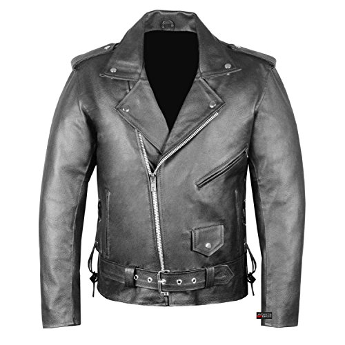 New Men's Classic Police Style Genuine Leather Motorcycle Jacket Side Lace L
