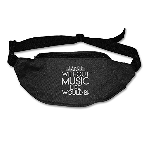 Ada Kitto Without Music Life Would B Flat Mens&Womens Sport Style Travel Waist Bag For Running And Cycling Black One Size by Ada Kitto
