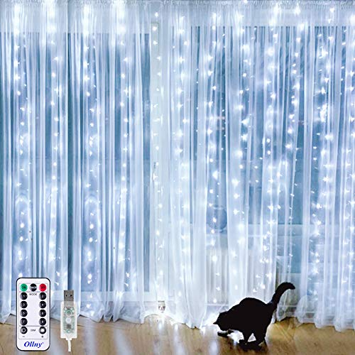 Ollny Curtain String Lights 9.8ft x 9.8ft 304 LEDs Cool White Indoor Window Curtain Lights USB Powered with Remote Timer for Bedroom Party Home Garden Indoor Outdoor Wall Decorations IP44 Waterproof (Decorations Outdoor Home)