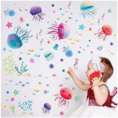 Jellyfish Coral Fish Wall Stickers Sea Animal Kids Nursery Home Decor Decal Gift