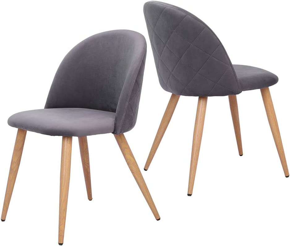 Norcia Dining Chairs Set of 2, Velvet Fabric Kitchen Chairs with Metal Legs and Non-Slip Mat, Modern Simple Leisure Chairs for Kitchen, Bedroom, Dining, Living Room Grey