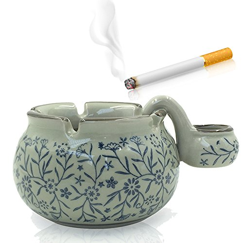 Max&Mix Retro Ceramics Cigar Ashtray with a Sink Cigarettes Japanese Round Ash Tray for Home Office Tabletop Decoration,Gift Ashtray,Smoker (Retro Cigarette)