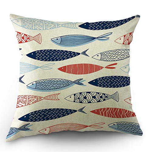 Moslion Fish Pillows Decorative Throw Pillow Cover Fish in The Ocean Pillow Case 18x18 Inch Cotton Linen Square Cushion Cover for Sofa Bed Blue Red