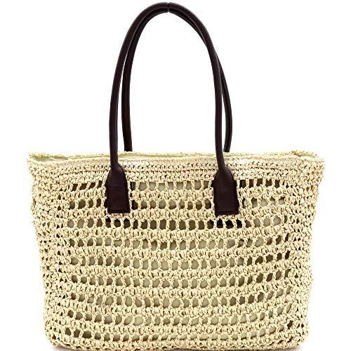 Knitted Crochet Straw Large Round Tote Hobo Summer Beach Bali Boho Purse Handbag (Shopper Tote - Ivory)