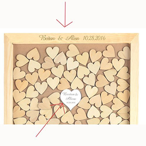 Teisyouhu Black Wood Pattern Name Date Personalized Wedding Guest Book Rustic Please Sign Our Guestbook Sign Wedding Drop Box Guest Book 16 x 20 inch with 150 Hearts by Teisyouhu (Image #1)