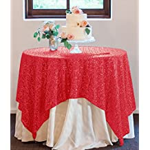 ShinyBeauty Sequin Reception Table Cloth 50x50Inch Color Sequin Overlay, Square Birthday Cake Tablecloth (Red)