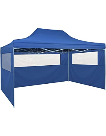 vidaXL Carpa Jardín Plegable Pop-up 4 Paredes Acero Tela Azul 3x4,5 m