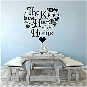 La cuisine est le coeur de la maison vinyle mural art famille citation décalque autocollant