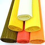 yellow party streamers - Star Packing Best Crepe Paper Roll 20 inches wide x 8ft long | 42 colors available 13.5 Square Feet pack (6 Rolls, Shades of Yellow and Orange)