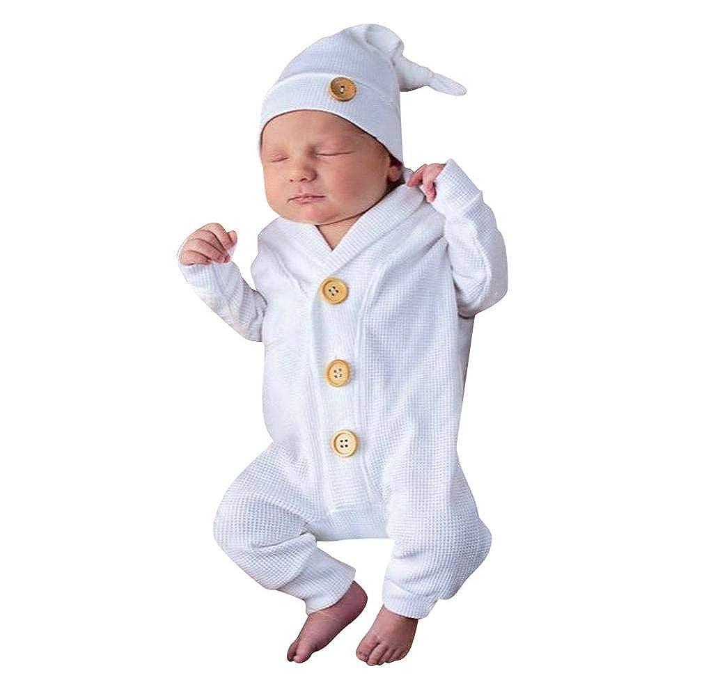 Cappello Body Bambino Vestiti Jimmackey Neonato Unisex Manica Lunga Pagliaccetto Solido Tutina