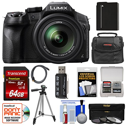 (Panasonic Lumix DMC-FZ300 4K Wi-Fi Digital Camera with 64GB Card + Battery + Case + Tripod + 3 Filters + Kit)
