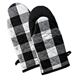 "DII Buffalo Check Plaid Oven Mitts, Heat Resistant for Everyday Kitchen Cooking and Baking, Perfect for Holidays or Hostess & Housewarming Gifts (13x6"" - Set of 2), Black & White"