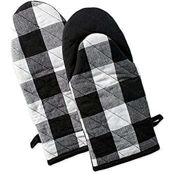 DII Buffalo Check Plaid Oven Mitts, Heat Resistant for Everyday Kitchen Cooking and Baking, Perfect for Holidays or Hostess & Housewarming Gifts (13x6